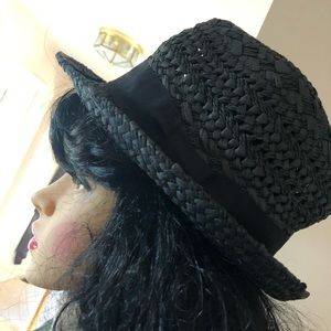J Crew Black Straw Panama Hat with ribbon band